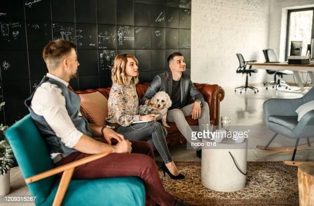 team aziendale presso creative office corner - dog pad foto e immagini stock