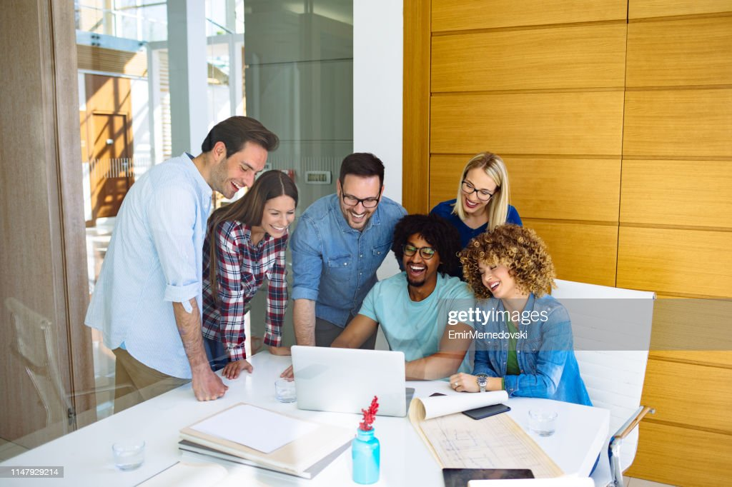 Business team brainstorming in the office : Stock Photo
