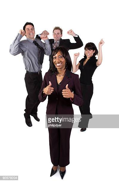 Business team cheering - female