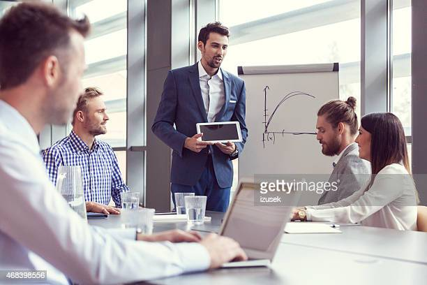 Business team having brainstorming in an office