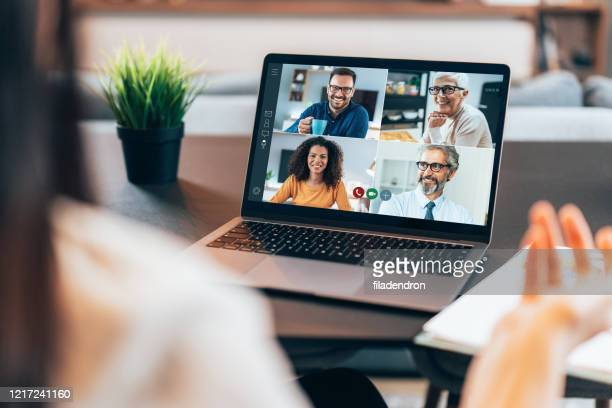 business team in video conference - travel ban stock pictures, royalty-free photos & images