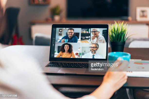 business team in video conference - teamwork stock pictures, royalty-free photos & images