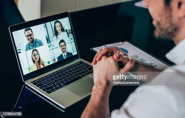 business team in video conference - video still stock pictures, royalty-free photos & images