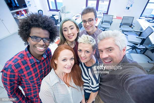 Business team selfie