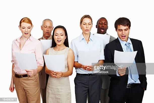 Business team singing together
