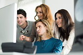 young business team together computer modern