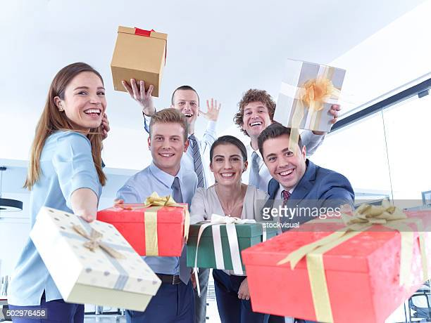 Business Team With Gift Boxes