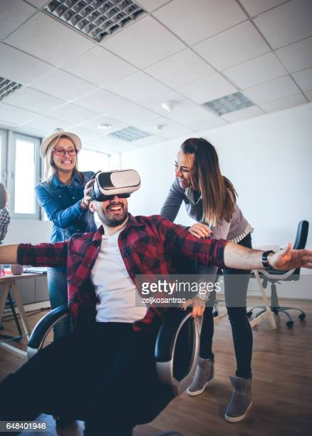 Business team with virtual reality