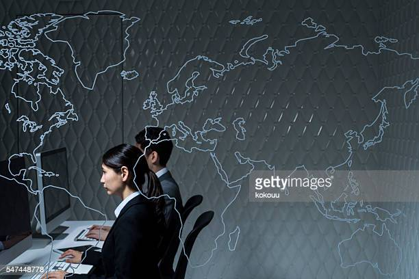 Business team working in an international company