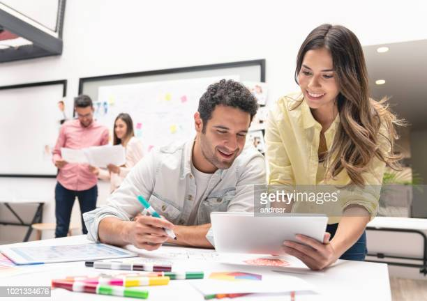 Business team working online at a creative office