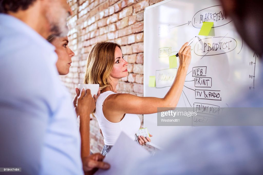 Business team working together on whiteboard at brick wall in office : Stock Photo