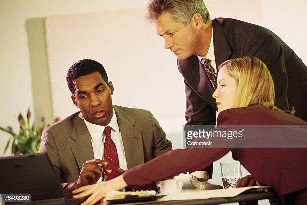 Business team working with laptop