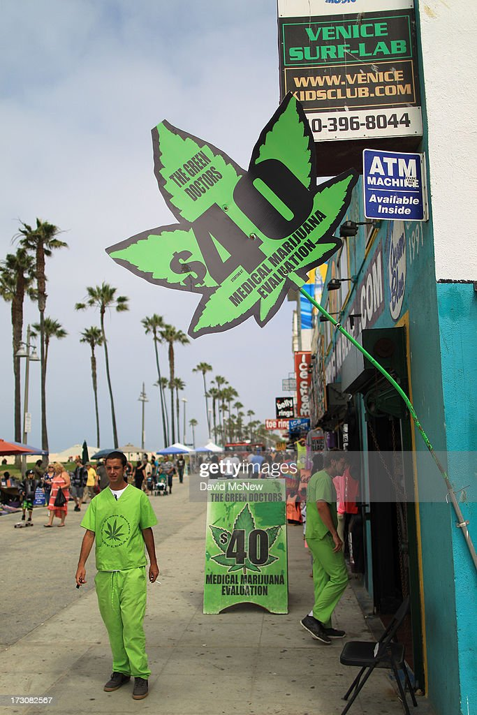 A business that certifies people to smoke medical marijuana advertises $40 evaluations on Independence Day weekend at Venice Beach on July 6, 2013 in Venice, California. An estimated 16 million people visit the famous beach city annually which is celebrating 108th birthday as of July 4.