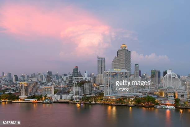 Business Tower on Chao phraya river view at Bangkok Thailand