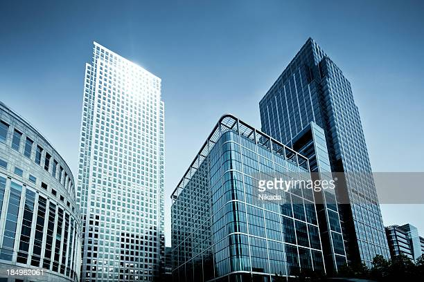 business towers - canary wharf stock photos and pictures