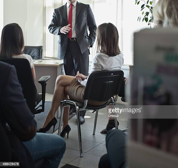 Business training - lecturer with audience in meeting room