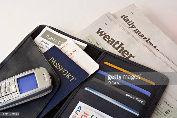 Business Travel Wallet with Passport, Credit Cards, Cell Phone Organized