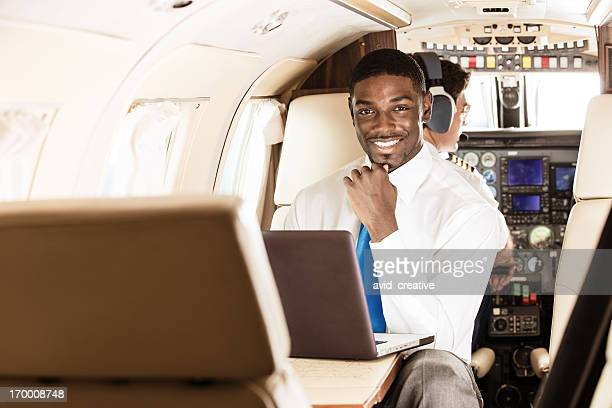 Business Traveler in Private Jet