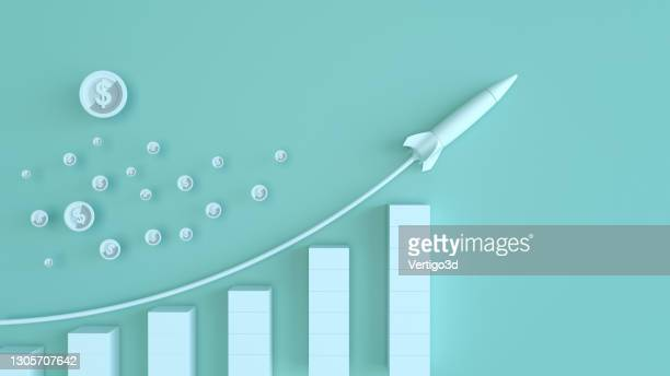 business trends graphs and charts. dollar sign with rocket - making money stock pictures, royalty-free photos & images