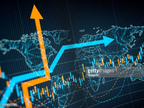 business trends graphs and charts - making money stock pictures, royalty-free photos & images