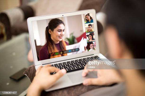 business video call meeting on laptop at home - participant stock pictures, royalty-free photos & images