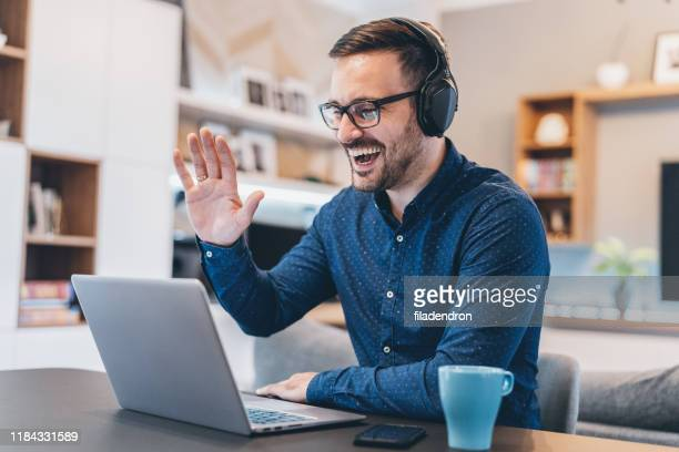 business video conference - males photos stock pictures, royalty-free photos & images
