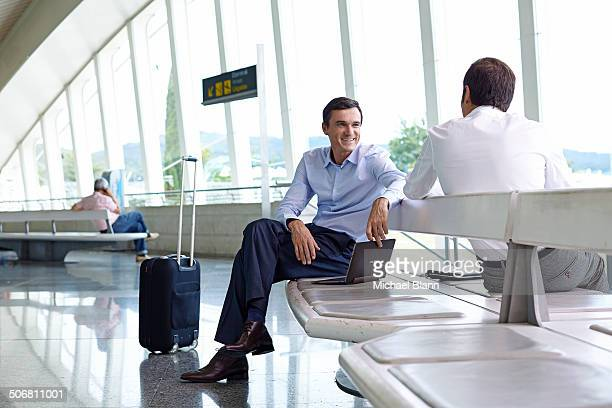 business waiting for flight at airport