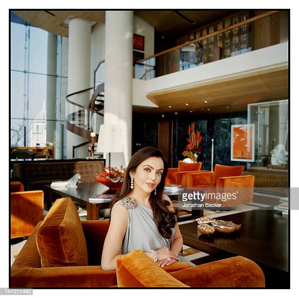 Business woman and founder/chairperson of Dhirubhai Ambani International School Nita Ambani is photographed in her home for Vanity Fair Magazine on...
