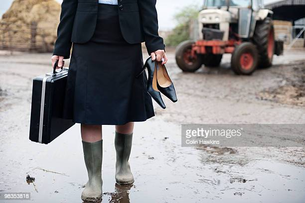 business woman arriving at farm