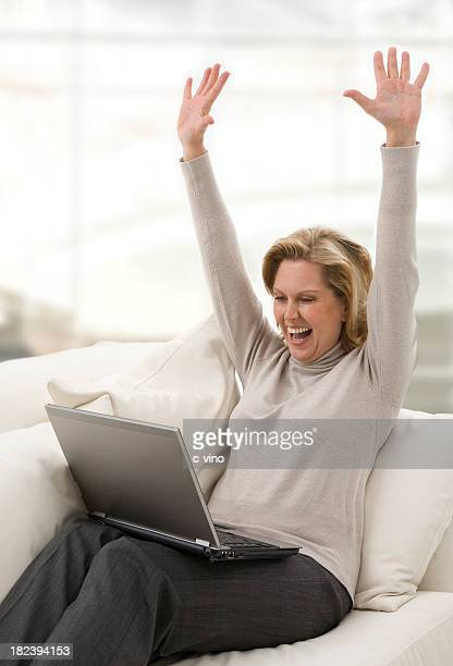Business woman at home enjoy with notebook