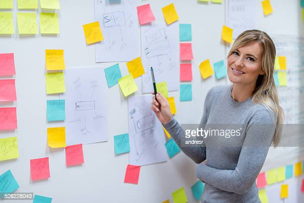 Business woman brainstorming