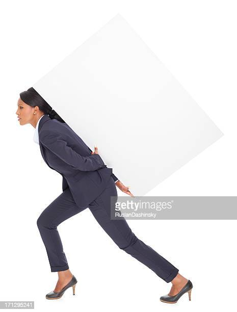 business woman carrying blank billboard. - big fat white women stock pictures, royalty-free photos & images