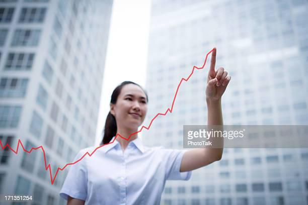 Business Frau Zeichnung ein Wachstum Diagramm-XXXL