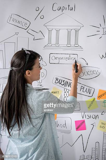 Business woman drawing a wall chart
