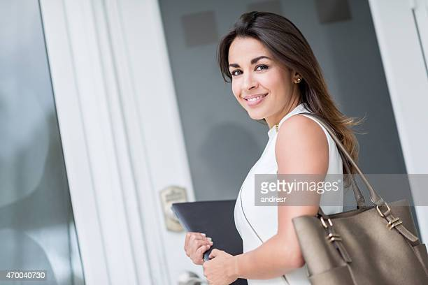 Business woman going to work