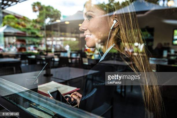 Business woman having a break in a restaurant