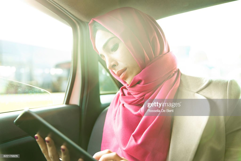 Business Woman In A Taxi : Stock Photo
