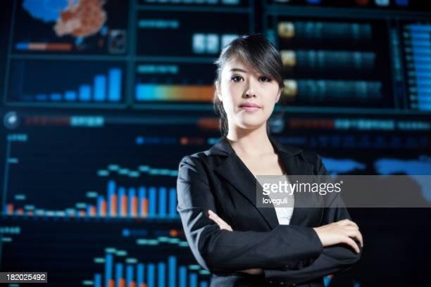 business-Frau in data center