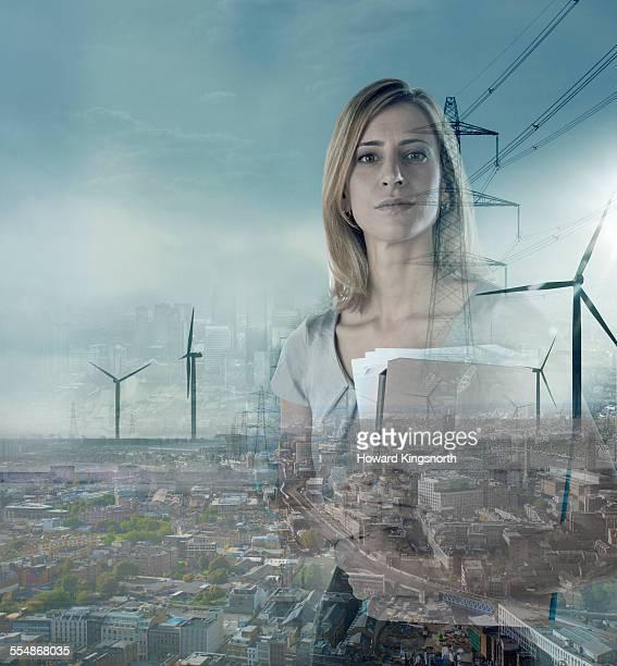 business woman in urban landscape