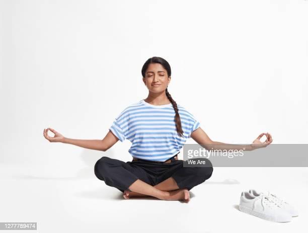 business woman in yoga position - buddhism stock pictures, royalty-free photos & images