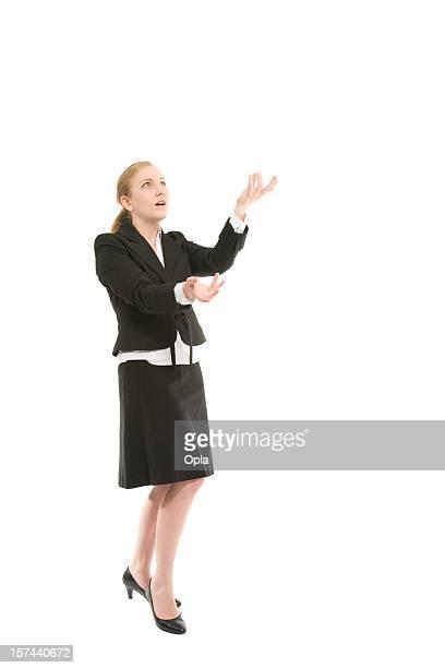 business woman juggling - jongleren stockfoto's en -beelden