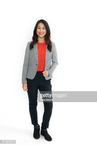 business woman jumping - white background stockfoto's en -beelden