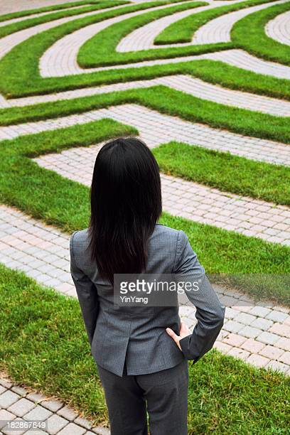 Business Woman Looking at Employment Maze of Complexity, Strategy, Confusion