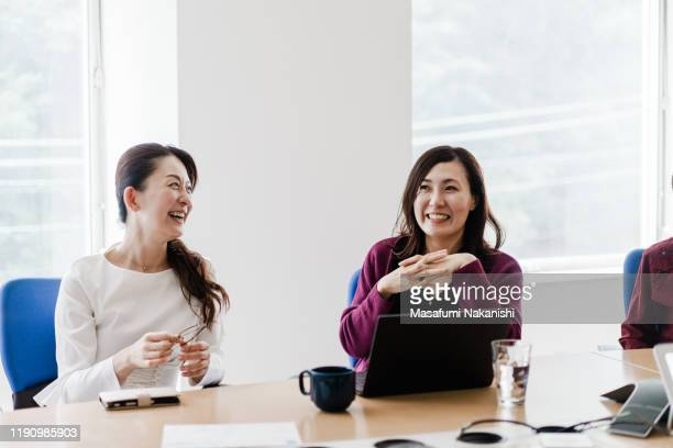 business woman meeting positively - business ストックフォトと画像