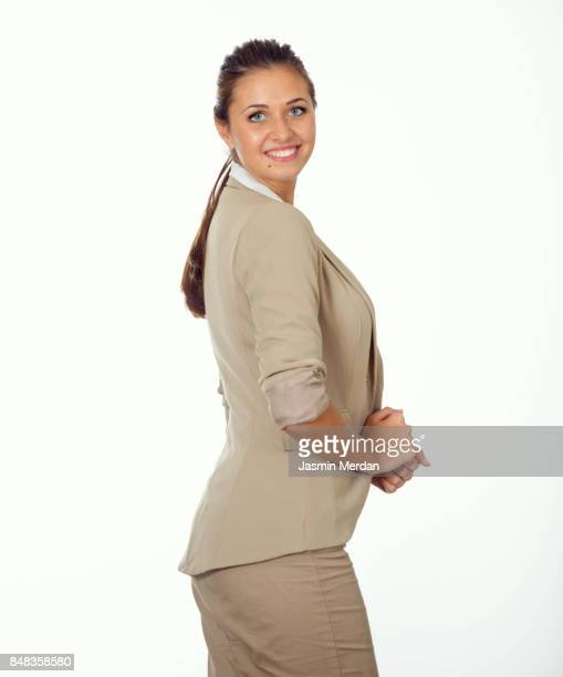 Business woman on white background