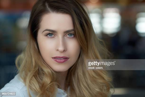 business woman portrait inside airport