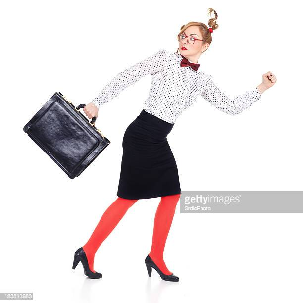 Business woman running away isolated on white background