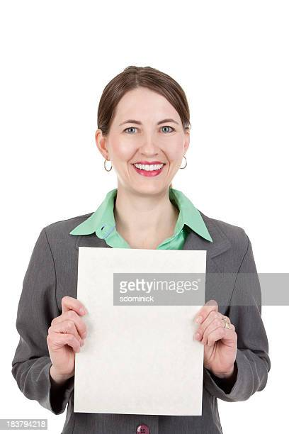 Business Woman Smiling And Holding Blank Paper
