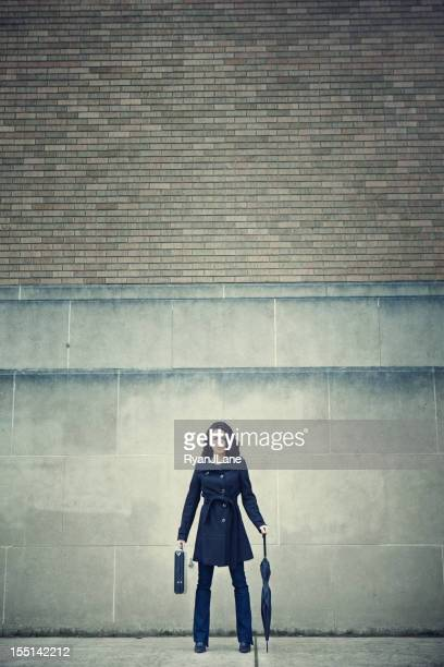 Business Woman Standing Prepared Downtown