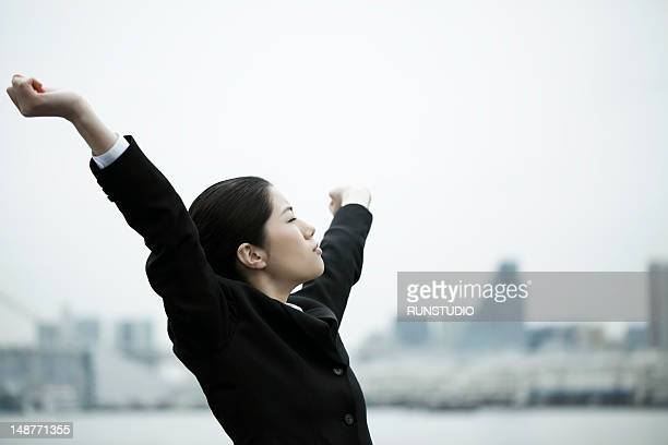 business woman stretching